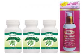 300 Pueraria capsules met 30% hop en 1 Bio Anne borstvergroting crème